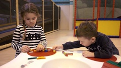 Children kids playing with Lego construction blocks Stock Footage