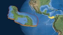 Panama tectonic plate. Satellite imagery Stock Footage