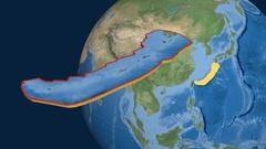 Okinawa tectonic plate. Satellite imagery Stock Footage