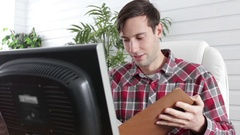 Man congratulates employee for great work ethic and performance Stock Footage
