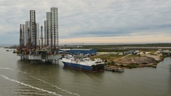 Moored off-shore oil rigs in Galveston Harbor Stock Footage