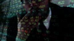Corrupt Wall Street lobbyist smokes cigar over stock market ticker Stock Footage