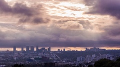 Los Angeles, Century City and Santa Monica Clouds Sunshine Golden Hour Timelapse Stock Footage