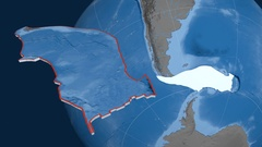 Scotia tectonic plate. Elevation and bathymetry Stock Footage