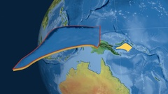 Solomon Sea tectonic plate. Topography Stock Footage