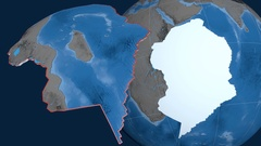 Somalia tectonic plate. Elevation and bathymetry Stock Footage