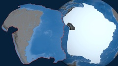 South America tectonic plate. Elevation and bathymetry Stock Footage