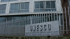 PARIS, FRANCE Steadicam shot of UNESCO sign board and Stock Footage