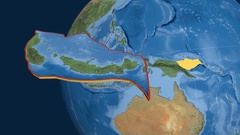 South Bismarck tectonic plate. Satellite imagery Stock Footage