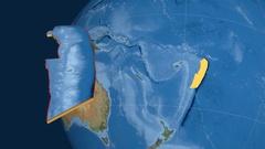 Tonga tectonic plate. Satellite imagery Stock Footage