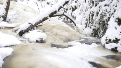 Broken tree in frozen mountain stream. Snowy and icy stones in chilly water. Stock Footage
