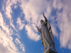 Virgin Mary with his hands raised Stock Footage