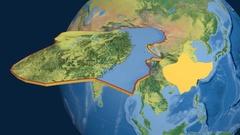 Yangtze tectonic plate. Topography Stock Footage