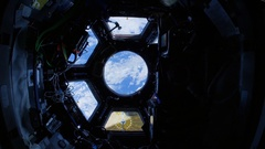 ISS (International Space Station) view through porthole. Stock Footage