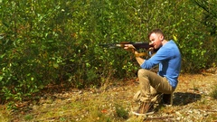 4K Man with Army Rifle, Aiming and Sport Shooting, Hunting Gun SKS 7.62x39mm Stock Footage
