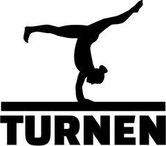 Gymnast at balance beam  with german word for gymnastics Stock Illustration