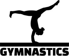 Gymnastics word with gymnast at balance beam Stock Illustration