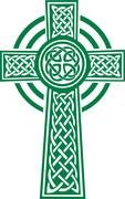 Green celtic cross with details Stock Illustration