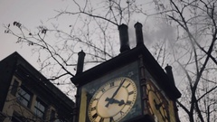 Gastown Steam Clock, Vancouver BC (Winter) Stock Footage