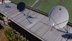 NBN national broadband network internet satellite dish, outback Australia vers 2 Stock Footage