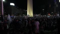 Argentinean crowd soccer fans at obelisk Stock Footage