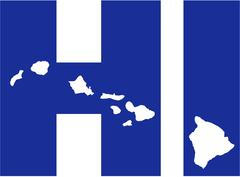 Hawaii state abbreviations HI with map Stock Illustration