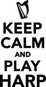 Keep calm and play harp Stock Illustration