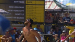 Men playing pro beach volleyball, slow motion. Stock Footage