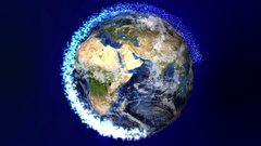 Rotating Earth with Sparkle Ring Stock Footage