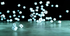 Several dices falling on the floor in slow motion Stock Footage