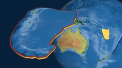 New Hebrides tectonic plate. Topography Stock Footage