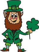Funny cartoon leprechaun with clover in his hand Stock Illustration