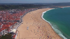View on Nazare atlantic coast and beach in Portugal Stock Footage