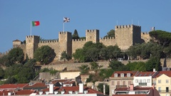 View on Lisbon and Castle of San Jorge, Portugal Stock Footage