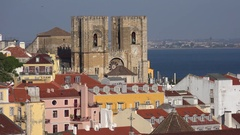 Video of Lisbon, river Tajo and Lisbon Cathedral Stock Footage