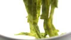 Serving Pesto Fettuccine Stock Footage