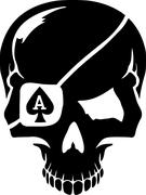 Skull with poker playing cards suits ace Stock Illustration