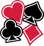 Playing cards Suits spades hearts diamonds clubs Stock Illustration
