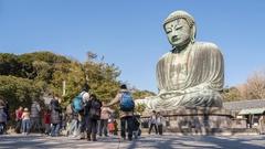 Time lapse 4k Daibutsu the great buddha in Kamakura, Japan Stock Footage