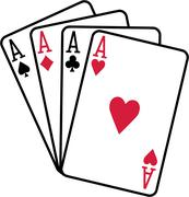 Four aces playing cards spades hearts diamonds clubs Stock Illustration