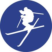 Ski Freestyle blue Circle Stock Illustration