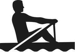 Rowing man silhouette Piirros