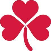 Red lovely shamrock of three hearts Stock Illustration