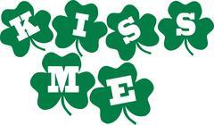 Kiss me - irish text with clovers Stock Illustration