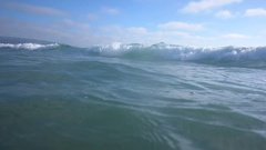 The whitewash of waves breaking in the surf at the beach, slow motion. Stock Footage