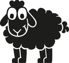 Black funny sheep cartoon Stock Illustration