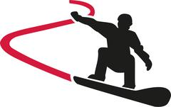 Snowboarding with track Stock Illustration