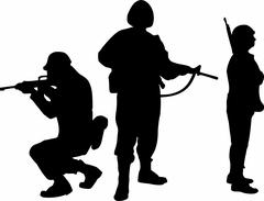 Soldier Group Silhouettes Piirros
