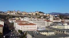 Bergamo Time Lapse Landscape on the old and lower city Stock Footage