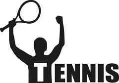Tennis player winner with word Tennis Stock Illustration